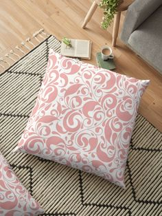 Stylized pink leaves Floor Pillows