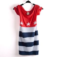 American Flag Dress for Women | size t shirt for women striped short cute star american flag dress ...