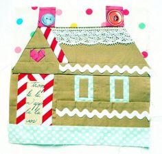 Gingerbread house quilt block design