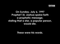 Emmanuel Tv, Tb Joshua, Princess Diana Death, July 6th, Wonderful Things, Ministry, Royals, Dates, Channel