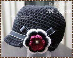 Crochet Newsboy Hat Pattern  Ribbon Flower by EmieGraceCreations, $3.99