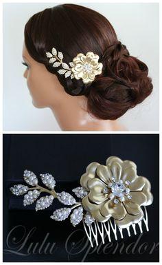 Bridal Hair Flower Matt Gold Wedding Hair Piece by LuluSplendor