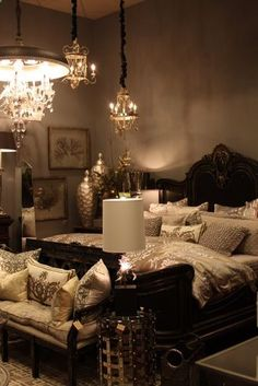 Bedroom Glamour tan linens with silver ,accents Im thinking I want to redo mine and Adams room!!!