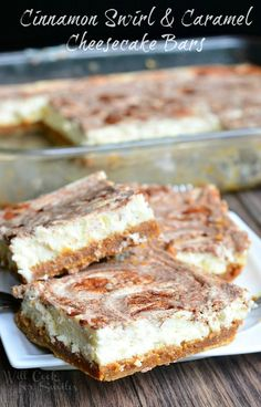 Cinnamon Swirl & Caramel Cheesecake Bars