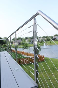 Jorge - MO - Modern Stainless Steel Cable and Glass Railing - Inline Design Deck Stair Railing, Staircase Railing Design, Balcony Railing Design, Fence Design, Modern Staircase, Glass Railing System, Cable Railing Systems, Window Grill Design Modern, Modern Design