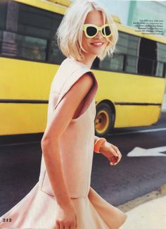 Pink dress, yellow sunglasses, short blond hair #summerstyle #editorial #style