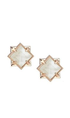 021cae67e NATALIE WOOD DESIGNS - Runaway Romantic Pyramid Gold Stud Earrings in Ivory  Pearl for Women –