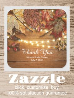 Shop Fall Leaves & String Lights on Rustic Wood Favor Square Sticker created by printabledigidesigns. Personalize it with photos & text or purchase as is!
