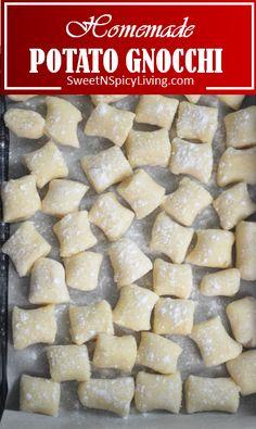 Potato Gnocchi Recipe, Potato Pasta, Gnocchi Recipes, Pasta Recipes, Cooking Recipes, Casserole Recipes, How To Cook Gnocchi, Making Gnocchi, Italian Potatoes