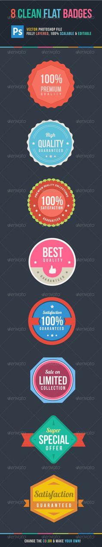 8 Clean Flat Badges