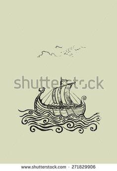 Viking ship. Viking ship at the stormy sea.pencil drawing illustration
