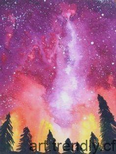 Watercolor Galaxy Sabeldesigns Painting Universe Watercolor