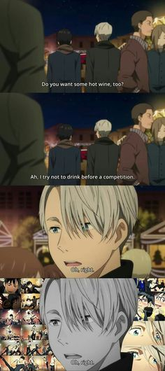 UMMM YOU SHOULD ALWAYS DRINK BEFORE COMPETITION YUURI PLZ #YOI #YurriIsAStripper