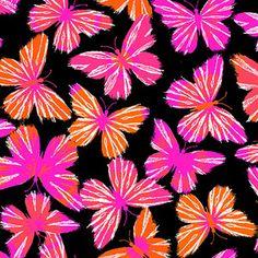 Creative Cuts Cotton 44 wide, 2 yard cut fabric - Modern Butterfly, Black/Pink
