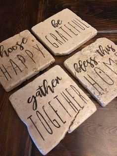 I love these rustic stone coasters! Perfect for farmhouse decor. #farmhouse  #ad #farmhousestyle #rustic #rusticdecor