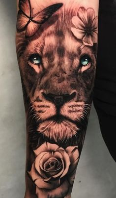Half Sleeve Tattoos Forearm, Tiger Tattoo Sleeve, Lion Forearm Tattoos, Forarm Tattoos, Tattoos For Women Half Sleeve, Leo Tattoos, Best Sleeve Tattoos, Badass Tattoos, Girly Tattoos