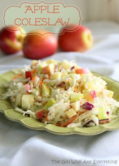 Apple Coleslaw Mix the dressing and honey in large bowl. Add the coleslaw and apples and mix together. The mixture might seem dry but it will be plenty once the mixture has chilled in the fridge since the cabbage will release some liquid. Salt and pepper to taste. Refrigerate at least one hour to let the flavors blend.