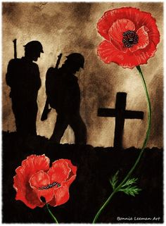 Watercolour painting I have done for Armistice Day. page [link] Lest We Forget Deviant Art, Remembrance Day Poppy, Remembrance Day Drawings, Remembrance Day Photos, Soldier Silhouette, Ww1 Art, Classe D'art, Military Tattoos, Army Tattoos