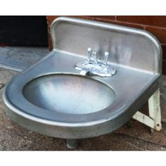 Small Stainless Steel Cook County Jail Sinks Dating Back To The Early  Raised Border Backslash W/ Oval Bowl.
