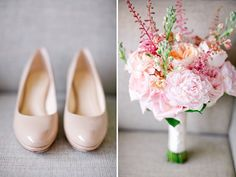 Peach and pink bridal bouquet and nude heels, photos by Harwell Photography | via junebugweddings.com