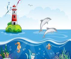 Sea with underwater world cartoon vector 01