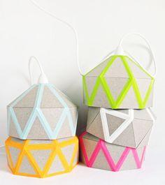 DIY / HAM  lamapara de papel  formas geometrícas  colores flúor