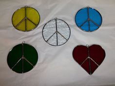 Stained Glass Peace Sign Suncatcher by craftycleo on Etsy