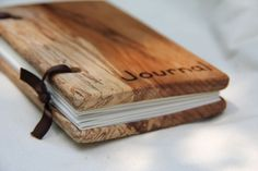 "small woodcover blank journal - made from reclaimed wood and recycled paper - ""journal"" woodburned on the cover"