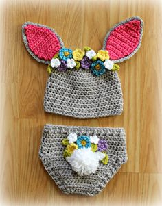 Crocheted Easter Bunny Hat and Diaper Cover Set by CIPinspirations