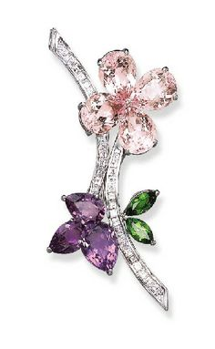 A MULTI-GEM BROOCH, BY FARAONE Designed as pear-shaped morganite or amethyst flowers to the marquise-cut peridot leaves and square-cut diamond stems, mounted in platinum