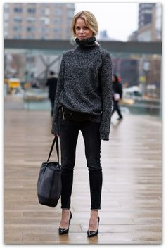 16 Ways How to Style an Oversized Sweater - Oversized Sweater, Pants, Heels and Bag