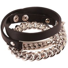 ID Look Wrap Bracelet in Chain Link PU Leather: Black / Silver ($21) ❤ liked on Polyvore featuring jewelry, bracelets, atstyle247, fashion jewelry, taya, silver wrap bracelet, silver jewelry, silver jewellery and silver bangles