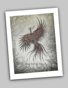 "Art by Sherrie Thai of Shaireproductions.com . ""Skeletal Phoenix"" print available at Etsy (https://www.etsy.com/listing/67516779/skeletal-bones-dark-gothic-horror)"