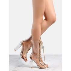 Shop Perspex Lace Up Clear Booties CLEAR online. SheIn offers Perspex Lace Up Clear Boots CLEAR & more to fit your fashionable needs. Clear Heel Boots, Clear Shoes, Open Toe Boots, High Heel Boots, Heeled Boots, Shoe Boots, Shoes Heels, Gladiator Shoes, Buy Shoes