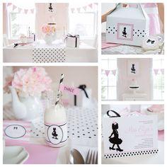 Pink, black + white tea birthday party via Kara's Party Ideas!