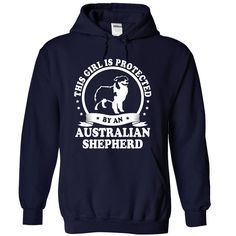 #dogs #hamster... Cool T-shirts  Australian Shepherd - (ManInBlue)  Design Description: This girl is protected by an Australian Shepherd  If you do not fully love this Tshirt, you can SEARCH your favourite one via the use of search bar on the header....
