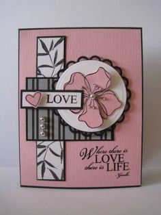 handmade card: Love is Life by lisaadd . black, gray, white and pink color combo .luv the differents sizes of pearls . Hand Made Greeting Cards, Making Greeting Cards, Scrapbooking, Scrapbook Cards, Asian Cards, Valentine Love Cards, Step Cards, Card Sketches, Flower Cards
