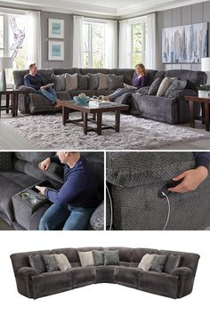 If you are looking for the ultimate comfort oasis, stop right there! There are many features about the Burbank Smoke 6 Piece Power Reclining Sectional Sofa that make it a prime choice for living room furniture. Be embraced by luxurious Polyester when you recline to a lay-flat position in three different spaces. The power is in your hands with built-in USB charging ports, allowing your devices to recharge while you do the same.  #shopgahs #recliningsectional #sectional #powerrecline #livingroom