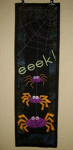 My test of this pattern went so well that I jumped right in to making the whole wall hanging.  These are the only spiders I've ever met that I actually like.  I think I need to make a postcard with one now.  I'm definitely getting my monies worth of this pattern.