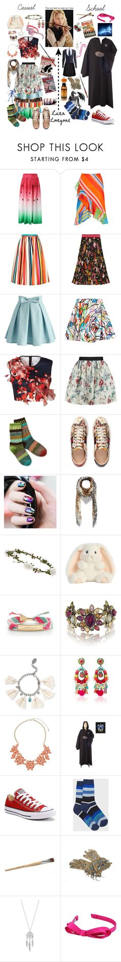 """""""Luna """"Loony"""" Lovegood"""" by ptomusic ❤ liked on Polyvore featuring Lauren Ralph Lauren, Alice + Olivia, Gucci, Chicwish, Jeremy Scott, Clover Canyon, Raoul, Sol Mate Socks, Luna and Alexander McQueen"""