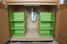 Here are some thrifty solutions that make some genius home-organization ideas a . are some thrifty solutions that make some genius home-organization ideas a reality. And they& all available at the local dollar store. Organisation Hacks, Bathroom Organization, Bathroom Storage, Kitchen Storage, Organizing Ideas, Dollar Tree Organization, Bathroom Ideas, Storage Organization, Cabinet Storage