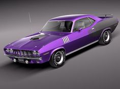Image detail for -Plymouth Hemi Cuda - Barracuda 1971 3D Model (.3ds, .c4d, .fbx, .lwo …minus the purple