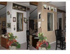 This is a before/after picture of the room divider in my home. the left was a busy and cluttery collection of stuff.  I  created inset shelves above the window and on the side, cleaning up the look a lot I thought.