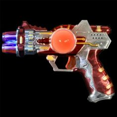 Small Red LED Space Gun with Sound Effects and Special Gift with Purchase- Exclusive FlashingBlinkyLights Light Up Pin by FlashingBlinkyLights, Inc.. $5.99. Small Red LED Space Guns with Sound Effects will help you get your light up rival with intergalactic flare! These fun to use light toys flash both red and blue LEDs in the gun tip and the center ball. Pass out light up space guns to your space cadets at your next party. To activate your Flashing LED Toy Gun, just pul...