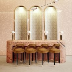 Arches are a great way to frame smaller nooks. On this art déco-inspired hospitality project bar set, arches are repeated throughout the bar wall combined with a pink estremoz counter table and the elegance of Kelly Bar Chair, making this set a statement. Bar Chairs, Dining Chairs, Wall Bar, Hospitality Design, Bar Set, Bold Colors, Upholstery, Art Deco, Restaurant