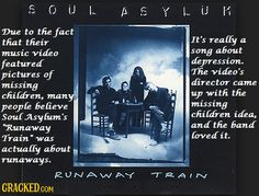 35 Popular Songs That Don't Mean What You Think Music Video Song, Music Videos, Musica Salsa, Soul Asylum, Depressing Songs, Runaway Train, Missing Child, Anxiety Help, Holistic Approach