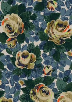 Oxford Rose | Bold and beautiful Oxford Rose print is a richly-textured, painterly floral that was inspired by mid-century botanical prints. We've made it into a modern fashion print with a colour palette of saturated blues, greens and soft lilacs with neon accents | Cath Kidston AW15 |