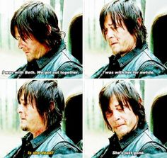 "Daryl Dixon. TWD. The Walking Dead. ""A"" finale. His face says it all. He's broken. She's just gone. Beth Greene"