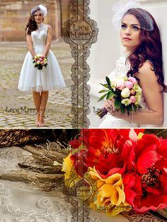Custom Short Wedding Dress, Knee Length Wedding Dresses, Short Boho Wedding Dresses, Bohemian Style, Keyhole Back, Tulle Skirt Dresses