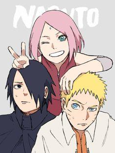 Sakura Sasuke and Naruto Naruto Team 7, Naruto And Sasuke, Anime Naruto, Kakashi Sensei, Naruto Comic, Naruto Cute, Naruto Shippuden Sasuke, Sakura And Sasuke, Naruko Uzumaki